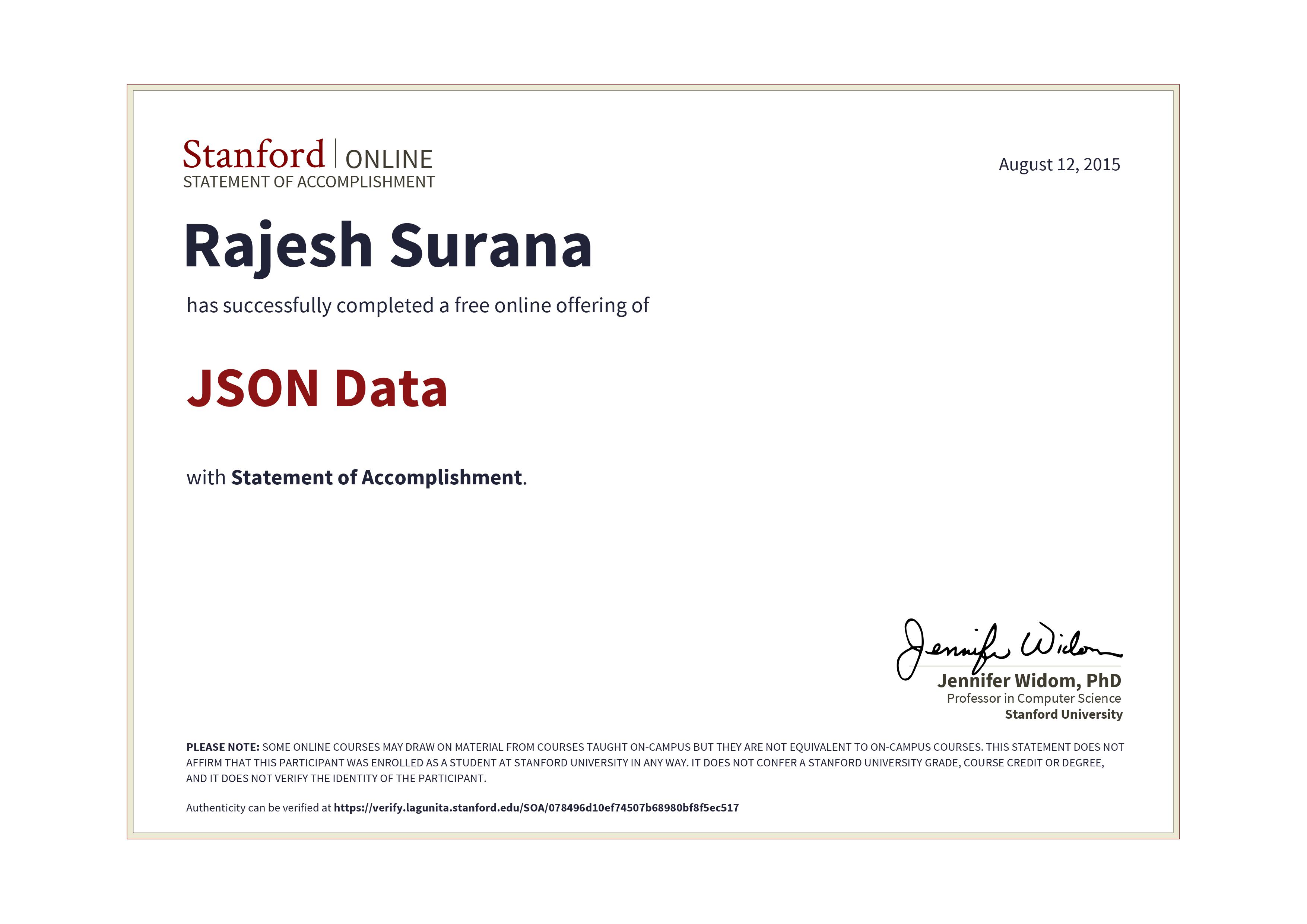Stanford Data Science Certificate Free Professional Resume